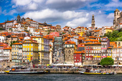 Porto Portugal on the River. Porto, Portugal old town skyline from across the Douro River Stock Images