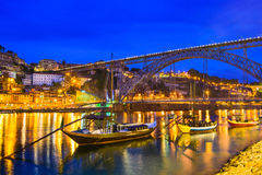Porto, Portugal on the River. Porto, Portugal old town skyline on the Douro River with rabelo boats Stock Photography