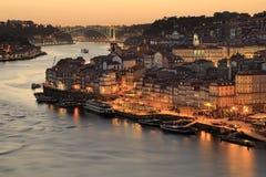 porto portugal solnedgång Royaltyfria Bilder