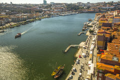 PORTO, PORTUGAL -  Top View of Douro river at center of Porto. Royalty Free Stock Photo