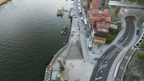 PORTO, PORTUGAL -  Top View of Douro river at center of Porto. stock footage