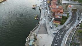 PORTO, PORTUGAL -  Top View of Douro river at center of Porto. stock footage