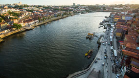 PORTO, PORTUGAL - Top View of Douro river at center of Porto. Royalty Free Stock Images