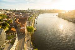 PORTO, PORTUGAL - Top View of Douro river at center of Porto. Stock Photography
