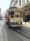 Tram at city life. Porto in Portugal Stock Photos