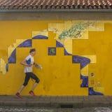 PORTO, PORTUGAL - tuile portugaise d'azulejo sur une des rues de la vieille ville Photographie stock