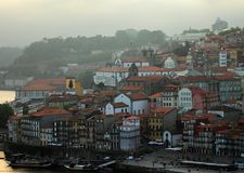 Porto, Portugal. View of Douro river embankment at dusk. stock images