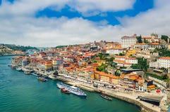 Porto, Portugal: Promenade in Cais de Ribeira along Duoro river in Porto old town stock image