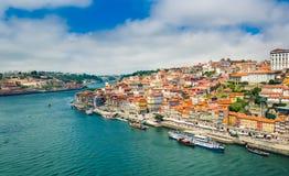 Porto, Portugal: Promenade in Cais de Ribeira along Duoro river in Porto old town stock photos