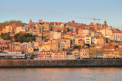 Porto, Portugal: view of Ribeira historical quarter at sunset Stock Photo