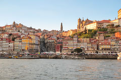 Porto, Portugal: view of Ribeira historical quarter at sunset Stock Images