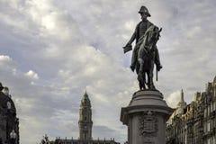 PORTO PORTUGALIA, LIPIEC, - 04, 2015: Królewiątka Pedro IV statua Porto Obraz Stock