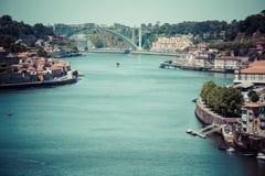 Porto, Portugalia -21 2015 Maj: Widok Porto Ribeira i Douro riv Obraz Stock