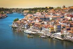 Porto, Portugalia -21 2015 Maj: Widok Porto Ribeira i Douro riv Zdjęcie Stock