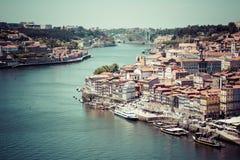 Porto, Portugalia -21 2015 Maj: Widok Porto Ribeira i Douro riv Zdjęcie Royalty Free