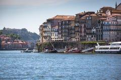 Porto, Portugalia -21 2015 Maj: Widok Porto Ribeira i Douro riv Zdjęcia Stock