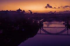 Porto, Portugalia miasto stara linia horyzontu z naprzeciw Douro rzeki, był Zdjęcie Stock