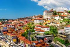Porto, Portugalia piękny widok stary grodzki Oporto od Dom Luis mostu na Douro Rive zdjęcie stock