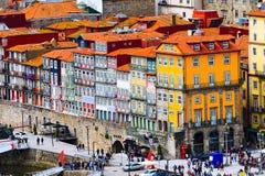 Porto, Portugalia stary grodzki widok z deptakiem Obrazy Royalty Free