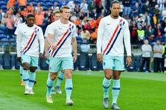 PORTO PORTUGLAL - Juni 09, 2019: Virgil van Dijk spelare under matchen för finaler för UEFA-nationliga mellan landslaget royaltyfri foto