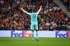 PORTO PORTUGLAL - Juni 09, 2019: Virgil van Dijk spelare under matchen för finaler för UEFA-nationliga mellan landslaget arkivfoto
