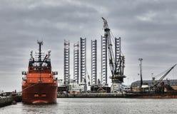 Porto a pouca distância do mar em Esbjerg, Dinamarca Imagem de Stock Royalty Free