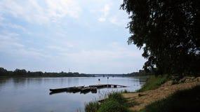 Porto privado pequeno em Vistula River para botes fotografia de stock