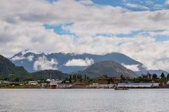 Porto Puerto Chacabuco, Cile Immagini Stock Libere da Diritti
