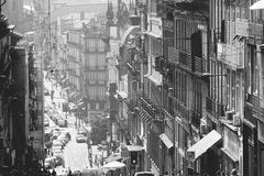 Porto. A retro view of the `Rua 31 de Janeiro` in Porto, Portugal stock images