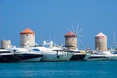 Porto Rhodes Greece Europe di Mandraki Fotografie Stock