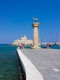 Porto Rhodes Greece Europe di Mandraki Immagini Stock Libere da Diritti