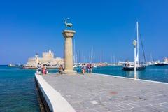 Porto Rhodes Greece Europe di Mandraki Immagine Stock Libera da Diritti