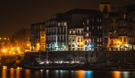 Porto, ribeira district at night royalty free stock images