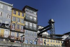 Porto Ribeira oude lift Royalty-vrije Stock Afbeelding