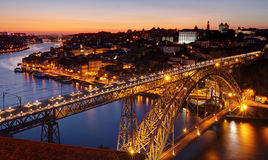 Porto - river Douro and bridge after sunset Stock Images