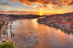 Porto at river Duoro, sunset stock photos