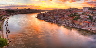 Porto at river Duoro, sunset Royalty Free Stock Image