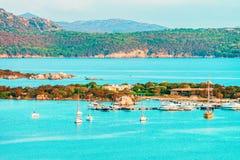 Porto Rotondo in Golfo Aranci at Costa Smeralda in Sardinia in Italy. Porto Rotondo in Golfo Aranci at Costa Smeralda resort area in Sardinia of Italy royalty free stock images