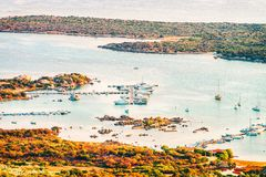 Porto Rotondo in Golfo Aranci. Costa Smeralda in Sardinia in Italy stock photography