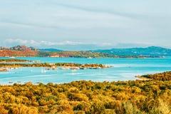 Porto Rotondo on Golfo Aranci. In Costa Smeralda in Sardinia in Italy royalty free stock photos