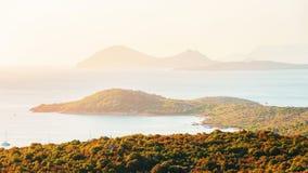 Porto Rotondo at sunrise at the Mediterranean Sea. In Costa Smeralda in Sardinia in Italy stock photo