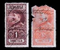 porto s stämplar u romania Sällsynt 1927 konung Ferdinand I arkivfoton