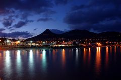 Porto Santo Night. View of Porto Santo village and beach at night Royalty Free Stock Photography
