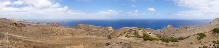 Porto Santo north coast panorama. Of cliffs and blue ocean. Madeira, Portugal Royalty Free Stock Photo