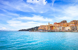 Porto Santo Stefano seafront and village skyline. Argentario, Tu. Porto Santo Stefano harbor seafront and village skyline., italian travel destination. Monte Stock Images