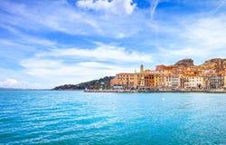 Porto Santo Stefano seafront and village skyline. Argentario, Tu Stock Images