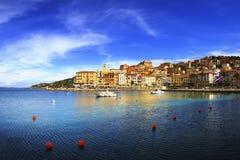 Porto Santo Stefano seafront and village skyline. Argentario, Tu Royalty Free Stock Photography