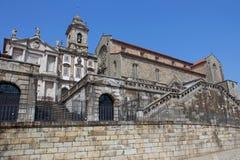 Porto. Sao Francisco Church, right, 14th century Gothic architecture. Neoclassical architecture. Unesco World Heritage Site Royalty Free Stock Photography