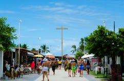 Porto Seguro, Bahia, Brazil - Febuary 11, 2018: View of handicraft fair and in background the cross brazilian first mass stock image