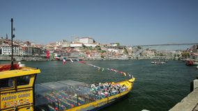 Porto sightseeing boat stock footage